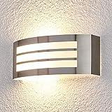 Lampenwelt Wandleuchte außen 'Raja' (spritzwassergeschützt) (Modern) in Alu aus Edelstahl (1 flammig, E27, A++) - Außenwandleuchten, Wandlampe, Außenlampe, Wandlampe für Outdoor & Garten