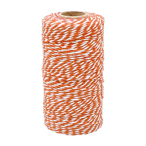 Orange and White Twine,100M/328 Feet Cotton Bakers Twine,Christmas String,Heavy Duty Packing String for DIY Crafts and Gift Wrapping