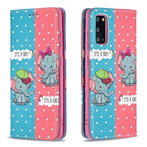 Miagon Brieftasche Hülle für Samsung Galaxy S20,Kreativ Gemalt Handytasche Case PU Leder Geldbörse mit Kartenfach Wallet Cover Klapphülle,Elefant