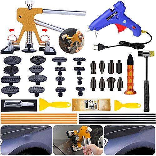 Manelord Dellen Reparatur Ausbeulwerkzeug Lackfreies Dent Puller Set, Dellen Reparaturset, Auto Paintless Dent Removal Kit, DIY Golden Lifter für Fahrzeug Dellen