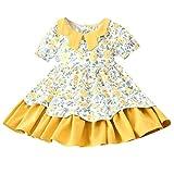 ZEFOTIM 80s Dresses for Girls Poodle Skirt bee Dress Prom Tutu Princess 3m Girl Boots Pageant 6 7-16 Pleaded Skirt Girls 3t Summer Dresses for Yellow(Yellow,120)