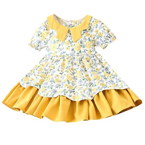 FRAUIT-kinderen baby meisjes jongen korte mouwen bloemenprint jurken Bow zomerjurk gekrulde eendelige rompler kleine kinderen