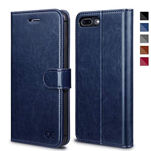 OCASE Carcasa de Piel Premium con Tapa y Tarjetero para iPhone 7 Plus/8 Plus (5,5 Pulgadas) [Azul]