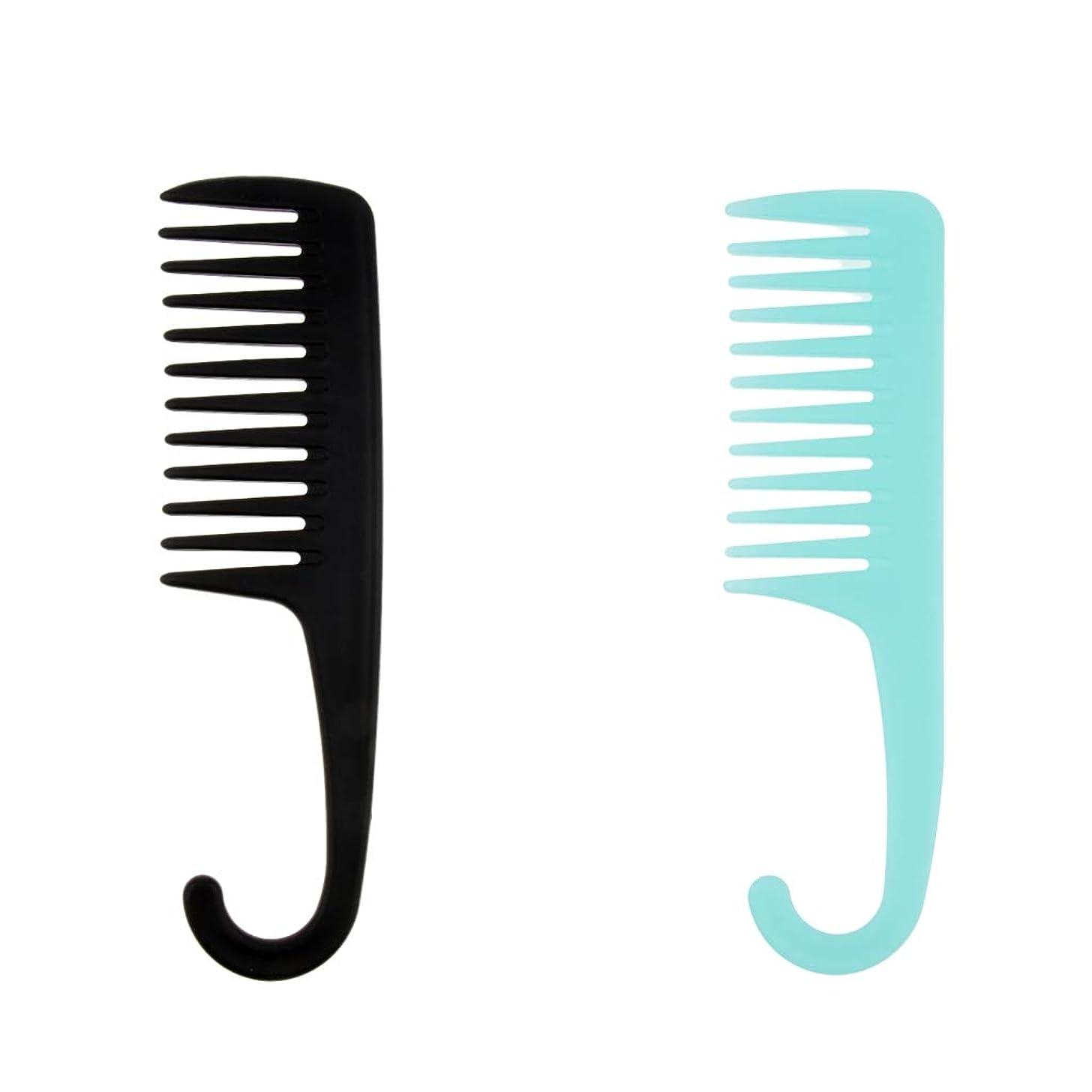吸う記念日経度F Fityle 2個 ヘアブラシ シャワー 掛け櫛 櫛 湿潤乾燥髪 フック サロン 家庭用 コーム