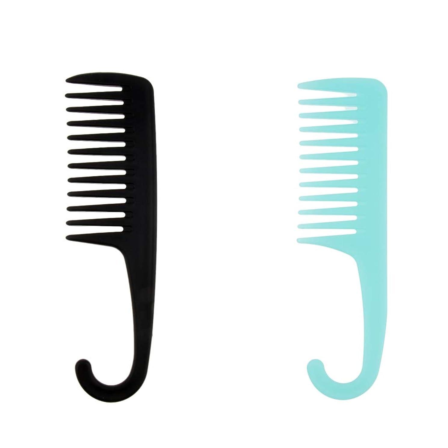 不適告白どれかF Fityle 2個 ヘアブラシ シャワー 掛け櫛 櫛 湿潤乾燥髪 フック サロン 家庭用 コーム