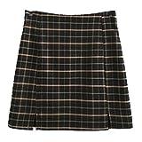 N\P Cintura alta Split Falda corta Streetwear Tartan Brown Mujeres Una línea de...