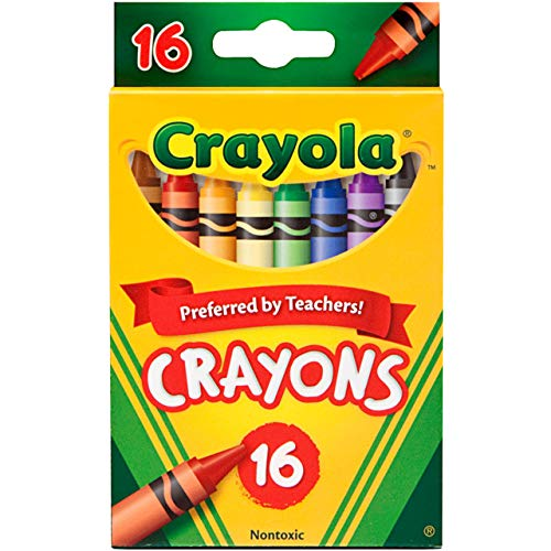 Crayola Crayons, School Supplies, Assorted Colors, 16 Count, Crayon Size 3-5/8'L x 5/16' Diameter