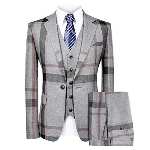 MAGE MALE Men's Plaid Suit Slim Fit 3-Piece Leisure Suit One Button Blazer Dress Business Wedding Party Jacket Vest & Pants Grey