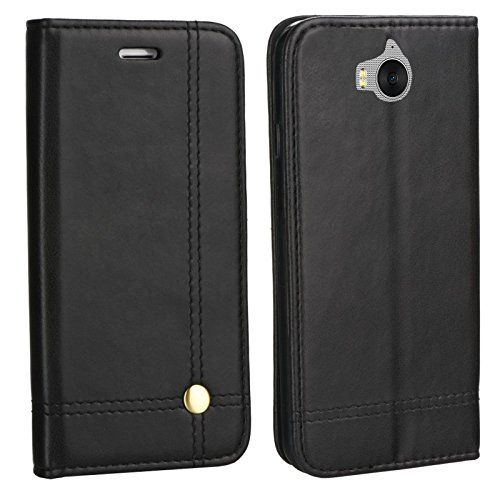 MOELECTRONIX Edle Buch Klapp Tasche SCHWARZ Flip Book Hülle Schutz Hülle Etui passend für Huawei Y6 2017 MYA-L41