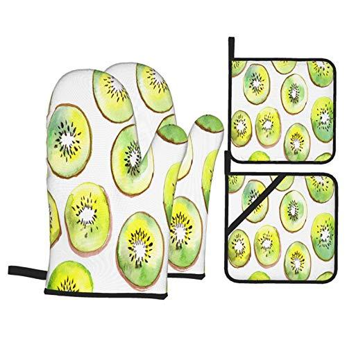 Juego de 4 Guantes y Porta ollas para Horno Resistentes al Calor Patrón de Acuarela de Fruta de Kiwi. Fruta de Kiwi. Rebanadas Fruta Fresca, Verde y para Hornear en la Cocina,microondas,Barbacoa