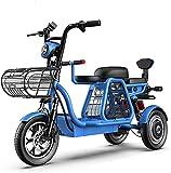 Bici elettriche Bici elettrica a 3 ruote per scooter di montagna adulto 48V 8ah 12in bicicletta elettrica con serratura elettrica caricabatterie a batteria con seggiolino per bambini staccabile per lo
