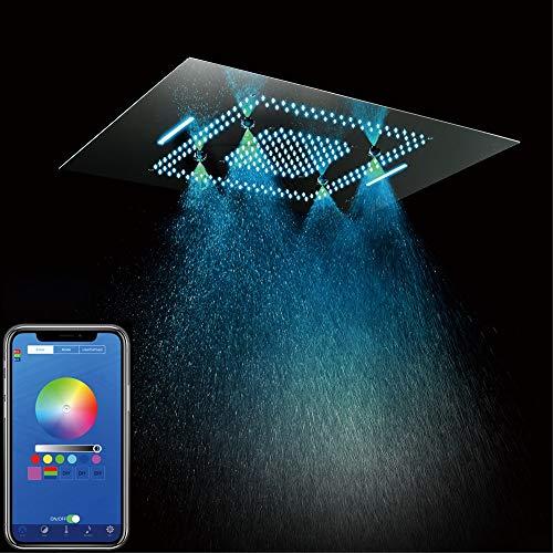 GYL Sistema de Ducha, Cabezales de Ducha LED de 31 Pulgadas Multifuncional Incorporado Acero Inoxidable Cromo Cambio de Color Sistema de Ducha de Baño (Control Remoto) (Style : Cell Phone Control)