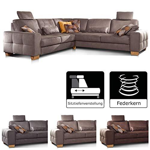 Cavadore Ecksofa Puccino mit Federkern, verstellbaren Sitztiefen und 2 Kopfstützen, Couch gleichschenklig in L-Form im Landhausstil, 276 x 86 x 271 cm, Mikrofaser hellbraun