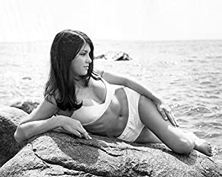 Victoria Principal Sexy in White Bikini Posing by Ocean on Rock 16x20 Canvas