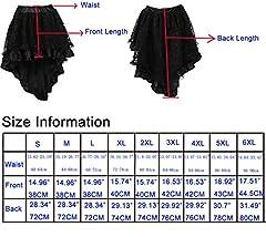 COSWE Women's Solid Color Lace Asymmetrical High Low Corset Skirt Plus Size Black (2XL) #4