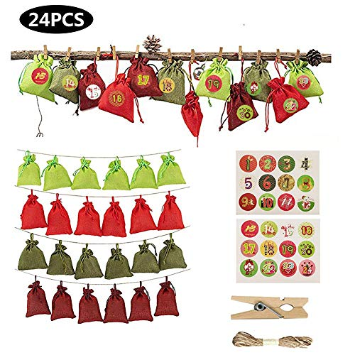 Esplic Calendario De Adviento De Navidad 2019, Bolsas De Regalo De Dulces De 24 Días para Calendarios De Adviento Colgantes Bolsa De Almacenamiento De Lino Y Saco De Chocolate
