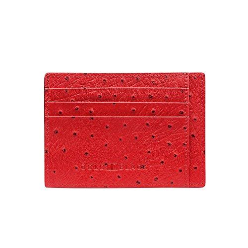 GOLDBLACK premium designer creditcardetui lederen etui Ostreep rood [echt leer] het origineel, kleine dunne luxe kaartenetui nobele portmonee ultra slim etui tas van echt leer, 1 jaar garantie