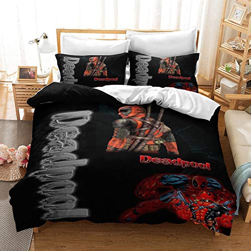 JSYJ 2/3pcs 3D Printed Deadpool Bedding Set - Duvet Cover + 1/2 Pillow Cases, Full Size Bed Linen Set For Kids Adults (No Comforter), 100% Microfibre (Size : 260 * 220cm)