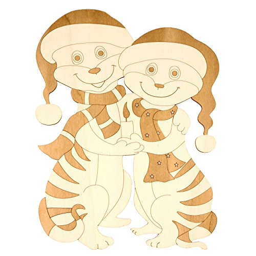 Holz Fensterbild-Wandbild Deko Erdmännchen Paar mit Kerze, beidseitig graviert
