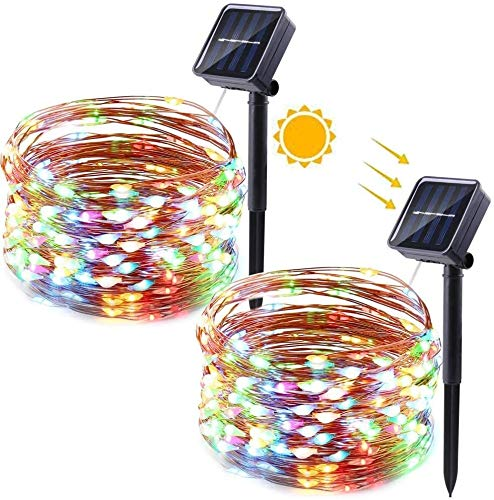Solar String Lights Outdoor, 33ft 100 LED Solar Garden Fairy Lights, Waterproof 8 Modes Solar Copper Wire String Lights for Halloween Party, Patio, Christmas Decorations led christmas lights warm whit