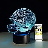 Lumière de nuit, illusion 3D dessin animé, Baseball Rugby Casque d'Illusion d'Optique de Lumière d'humeur Lampe Tactile Télécommande 7 Couleurs s Maison Lumière de Partie