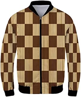 Checkered Men's Windproof Jacket,Antique Clothing Pattern Design with Retro Display English Culture Decorative for Outdoor,XS