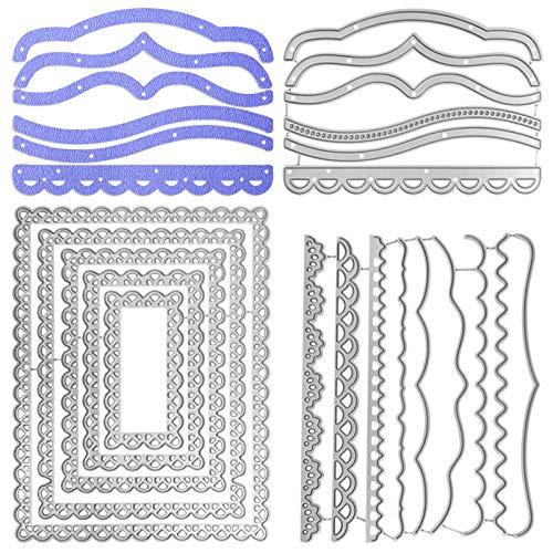SENHAI Metall-Stanzformen mit rechteckigem Rahmen und dekorativem Papier, 3 Sets Prägeschablonen für Scrapbooking, Scrapbooking, Fotorahmen, Kartenalbum, Kuchenaufsatz