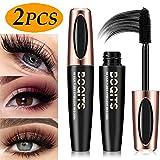 4D Silk Fiber Eyelash Mascara Waterproof, Heavy Full Figure Membrane Force Eyelash To Cream, Extra Long Lash Eyelashes,Thick, Voluminous Eyelashes,Long Lasting,Smudge-Proof Eyelashes - (2Pcs)