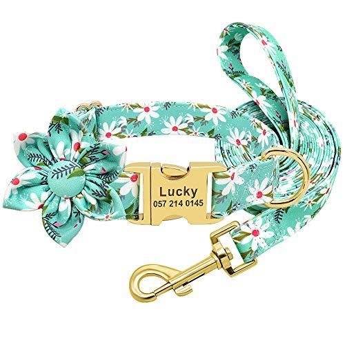 Beirui Collar de perro personalizado y correa – Collares florales de poliéster suave con cierre personalizado para perros pequeños, medianos y grandes (flor verde, S)