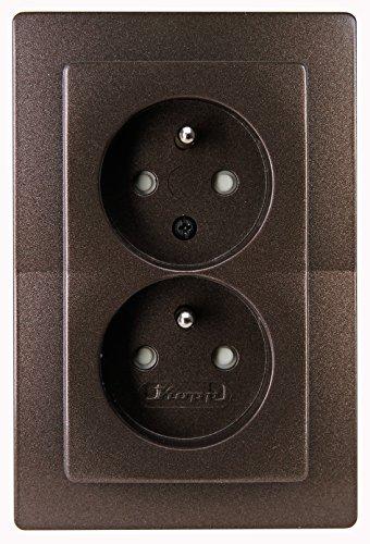Kopp 944626083 Paris Mitten-Schutzkontakt-Steckdose 2-fach mit erhöhtem Berührungsschutz, palisander-braun
