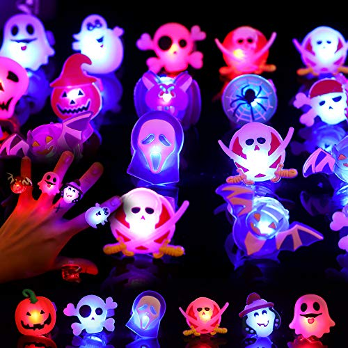 FiGoal 50 Pcs Halloween LED Light Up Ring Glow in The Dark Toys for Birthday Halloween Party Favors Decorations Flash Finger Rubber Rings for Kids Boys Girls Assorted Shape and Color Ghost Pumpkin