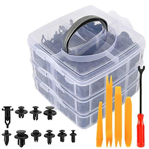 WPFC Kunststoff-Clips Car Body Rivet Stoßpin Fasteners Kit, Schraubendreher Lang Krawatten Remover Handwerkzeuge Innenausstattung, 635Pcs / Box