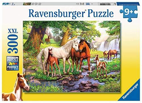 Ravensburger Spieleverlag- Wildpferde am Fluss Puzzle da 300 Pezzi, Colore Giallo, 12904