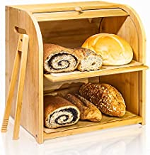 """Bamboo Bread Box, Finew 2 Layer Rolltop Bread Bin for Kitchen, Large Capacity Wooden Bread Storage Holder, Countertop Bread Keeper with Toaster Tong, 15"""" X 9.8"""" X 14.5"""", Self Assembly"""
