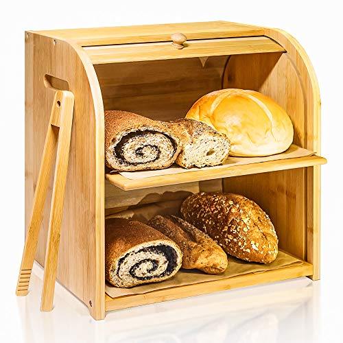 Buy Discount Bamboo Bread Box, Finew 2 Layer Rolltop Bread Bin for Kitchen, Large Capacity Wooden Br...