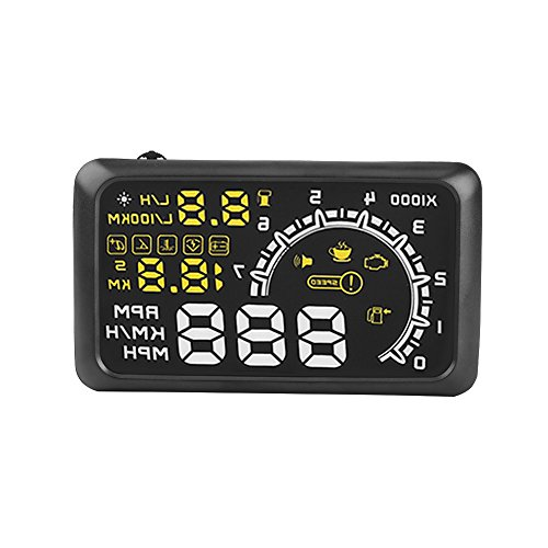Bicaquu Universal HUD Head Up Display 5.5 '' Pantalla Coche OBDII Interfaz Advertencia de sobrevelocidad de Combustible