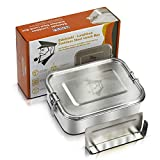 MAVILI stabile Edelstahl Brotdose & auslaufsichere Lunchbox mit herausnehmbarer Trennwand, 1200 ml   umweltfreundliche Bento Box für Kinder & Erwachsene   BPA freie & solide Brotbox mit Unterteilung