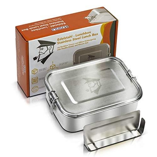 MAVILI stabile Edelstahl Brotdose & auslaufsichere Lunchbox mit herausnehmbarer Trennwand, 1200 ml | umweltfreundliche Bento Box für Kinder & Erwachsene | BPA freie & solide Brotbox mit Unterteilung