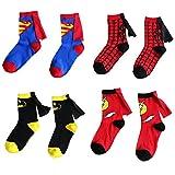 Bradage 3-6 Years Old Kids Socks Cartoon Superman Spiderman Batman The Flash Design Children Cotton Socks Unisex Boys Girls (4-6 years old, Superhero Set)
