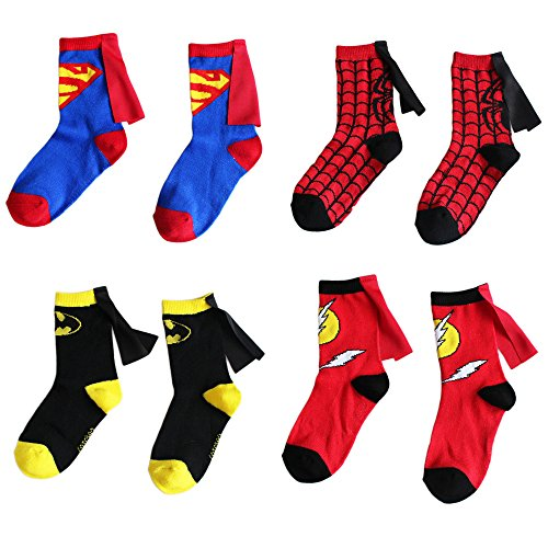 Bradage 4-6 Years Old Kids Socks Cartoon Superman Spiderman Batman The Flash Design Children Cotton Socks Unisex Boys Girls (4-6 years old, Superhero Set)