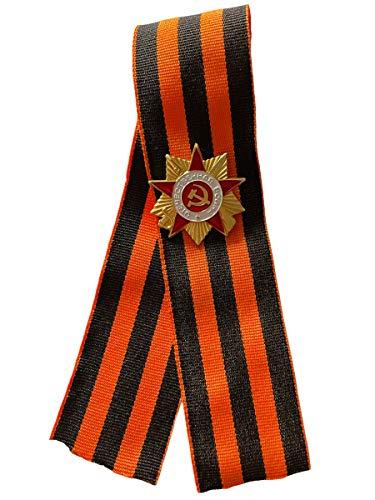 Ganwear St. George Ribbon 9. Mai WW2 Russischer Tag des Sieges - Goldfarbener Orden des Großen Vaterländischen Krieges Miniatur-Anstecknadel