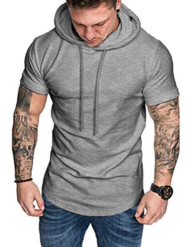 COOFANDY Herren Fitness T-Shirt Muscle-Shirt Sportswear Kurzarmshirt Sport Bekleidung Grau L