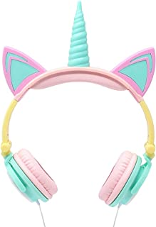 Gabba Goods Premium LED Light Up in The Dark Unicorn Over The Ear Comfort Padded Stereo Headphones with AUX Cable   Earphone Gift