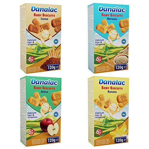 DANALAC Biscuits pour bébé Pack de sélection 120g - 1xBanane, 1xCacao, 1xPomme, 1xNaturelle - Collations pour bébés de 6 mois et plus