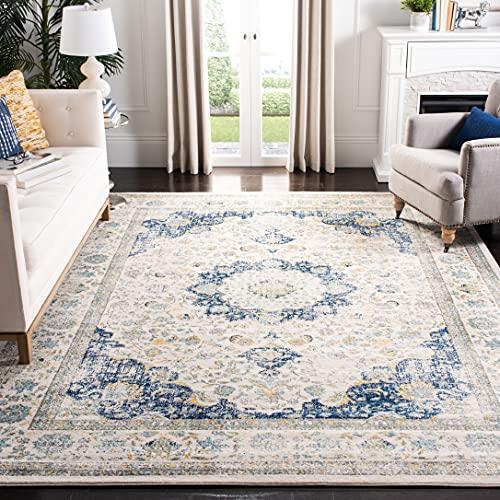 Safavieh Evoke Collection EVK220C Shabby Chic Oriental Medallion Non-Shedding Stain Resistant Living Room Bedroom Area Rug, 8' x 10', Ivory / Blue