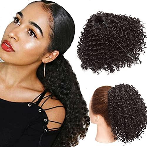 20cm Extensiones de Cola de Caballo Rizadas Afro rizadas con Cordón de Pelo Sintético Corto Postizos de Onda Profunda Negro natural