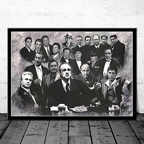Impresiones de Carteles Regalo Película clásica Goodfellas Gangster Padrino Arte Lienzo Pintura Cuadros de Pared Decoración para el hogar 50x70 cm C-3530