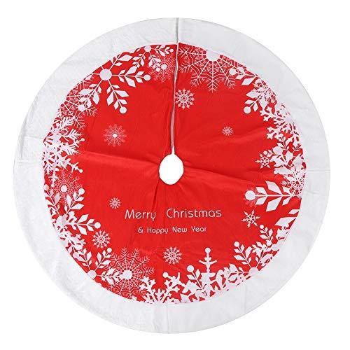Atyhao Árbol de Navidad, 122cm Falda roja del árbol de Navidad Alfombra Árbol de Navidad Estera Decorativa Decoración de la Feliz...