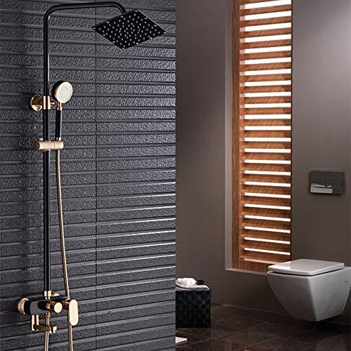 BTASS Thermostatisches Duschsystem, Regenduschenset Mit Handbrause, Große Duschbrause, Geeignet Für Moderne Badezimmer