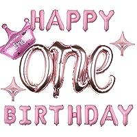 One レター バルーン Happy Birthday バルーン 誕生日 飾り付け 1歲 セット バースデー 飾り アルミ風船 ハッピー バースデー 文字 飾り付け ベビーシャワー (Oneピンク)